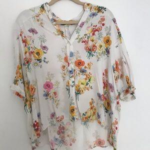 Zara Floral Button Down Shirt   Size S